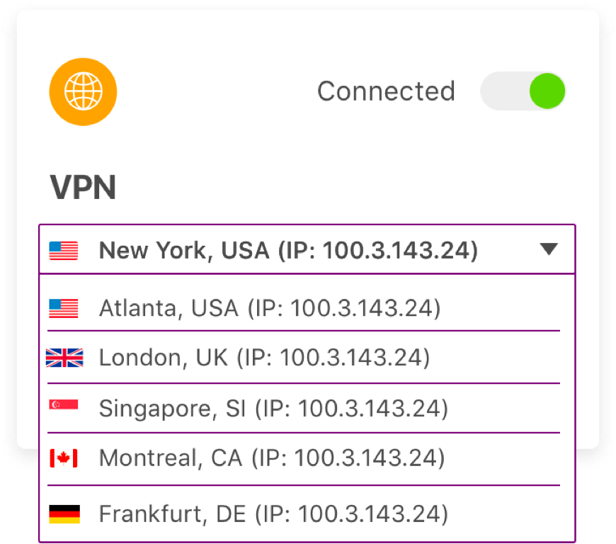 VPN location dropdown from Ghostery Midnight